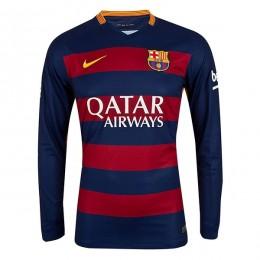 پیراهن اول بارسلونا آستین دار Barcelona Home 2015-16 Soccer Jersey