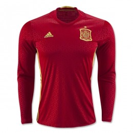 پیراهن اول تیم ملی اسپانیا آستین دار ویژه یورو Spain Euro 2016 Long Sleeve Home Soccer Jersey