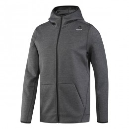 هودی مردانه ریبوک کوئیک Reebok Quik Cotton Full Zip Hoodie Dark Grey Heather B45132