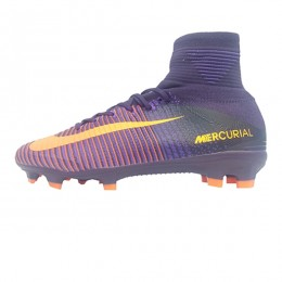 کفش فوتبال بچه گانه نایک مرکوریال طرح اصلی سرمه ای نارنجی Nike Mercurial