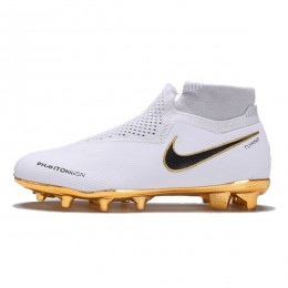 کفش فوتبال نایک فانتوم طرح اصلی سفید طلایی Nike Phantom Vision Elite DF FG White Black Gold