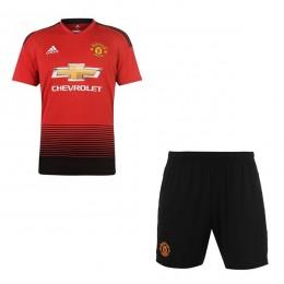 پیراهن شورت اول منچستریونایتد Manchester United 2018-19 Home Soccer Jersey Kit Shirt+Short