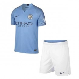 پیراهن شورت اول منچسترسیتی Manchester City 2018-19 Home Soccer Jersey Kit Shirt+Short