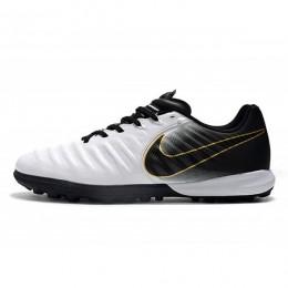 کفش چمن مصنوعی نایک تمپو طرح اصلی سفید مشکی Nike TiempoX Finale TF WhiteBlackGold