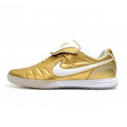 کفش فوتسال نایک تمپو لجند طرح اصلی طلایی Nike Tiempo Legend VII R10 Elite IC Gold White