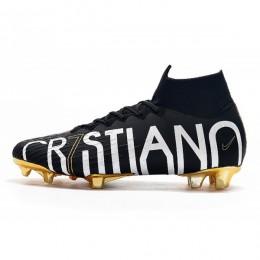 کفش فوتبال نایک مرکوریال سوپرفلای ساقدار طرح اصلی مشکی سفید طلایی Nike Mercurial Superfly VI Elite CR7 SE FG Black White Gold
