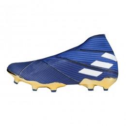 کفش فوتبال آدیداس نمزیز طرح اصلی آبی سفید Adidas Nemeziz 19+ FG Blue White Core Black