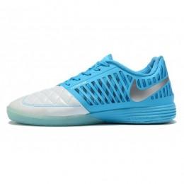 کفش فوتسال نایک لونار گتو طرح اصلی آبی نقره ای Nike Lunar Gato II IC Blue Metallic Silver Blue Fury