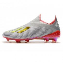 کفش فوتبال ادیداس نقره ای قرمز سفید Adidas X 19+ FG Silver Metallic Res Red White