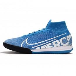 کفش فوتسال نایک مرکوریال سوپر فلای ساقدار طرح اصلی آبی سفید Nike Mercurial Superfly VII Elite IC Blue Hero White Obsidia
