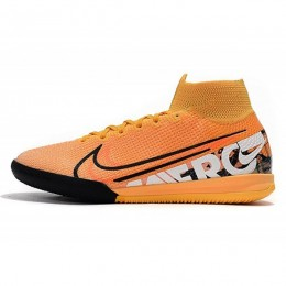 کفش فوتسال نایک مرکوریال سوپر فلای ساقدار طرح اصلی سفید مشکی Nike Mercurial Superfly VII Elite IC Orange White Black